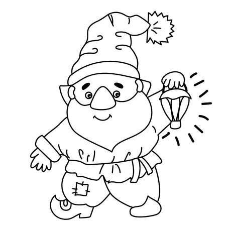 Black and white cute cartoon gnome. Illustration