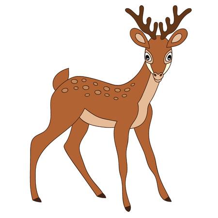 Cartoon cute brown forest baby deer.