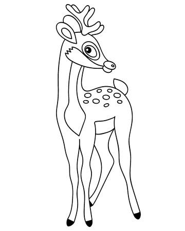 Vector black and white cute forest deer. Vector baby deer. Deer vector illustration