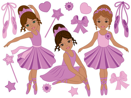 Vector set with beautiful African American ballerinas, bows and ballet shoes. Vector  ballerinas in purple tutu dresses dancing. Ballerinas vector illustration
