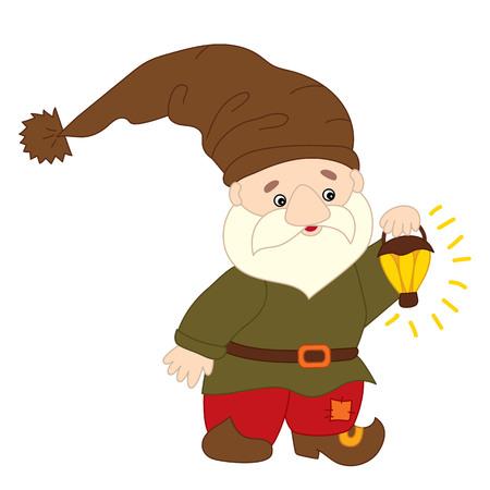 Vector cute cartoon gnome with lantern.  Vector garden gnome. Vector forest gnome. Vector gnome. Gnome vector illustration. Illustration