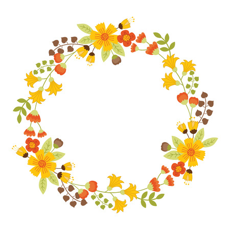 Autumn floral wreath with yellow flowers green and brown leaves autumn floral wreath with yellow flowers green and brown leaves stock vector 85819735 mightylinksfo