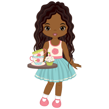 Vector cute little African American girl with tea cups, cupcake and tray. Vector tea party. Little African American girl vector illustration