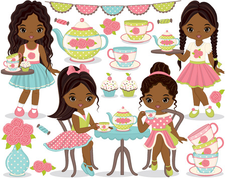 Vector tea party set. Set includes cute little African American girls having tea, teapot, tea cups and cupcakes. Vector girls with various hairstyles. Little African American girls vector illustration Vectores