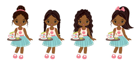 Vector cute little African American girls with tea cups, cupcakes and trays. Vector little girls with various hairstyles. Vector tea party. Little African American girls vector illustration