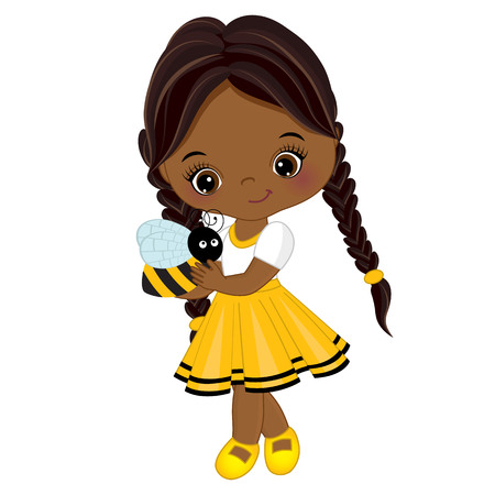 Vector cute little African American girl with bee. Little girl dressed in bee style. Little African American girl vector illustration