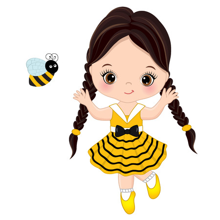 Vector cute little girl with bee. Little girl dressed in bee style. Little girl vector illustration