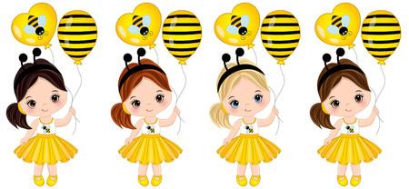 Vector schattige kleine meisjes met verschillende haarkleuren. Meisjes gekleed in bijenstijl. Meisjes vectorillustratie Stock Illustratie
