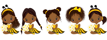 Vector cute little African American girls with various hairstyles. Little girls dressed in bee style. Little African American girls vector illustration