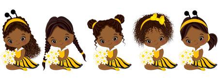 Vector schattige kleine Afro-Amerikaanse meisjes met verschillende kapsels. Meisjes gekleed in bijenstijl. Weinig Afrikaanse Amerikaanse meisjes vectorillustratie Stock Illustratie