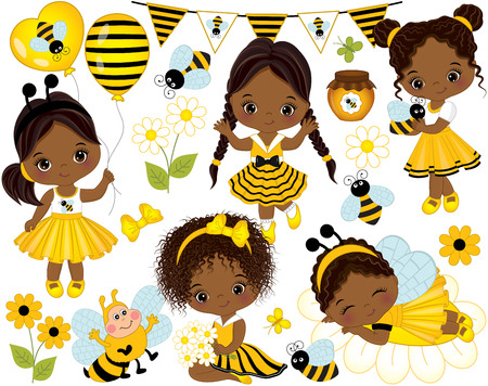 Vector set with cute little African American girls dressed in bee style, cartoon bees, flowers, balloons, jars of honey, butterflies and bunting. Little African American girls vector illustration