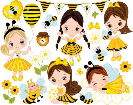 Vector set with cute little girls dressed in bee style, cartoon bees, flowers, balloons, jars of honey, butterflies and bunting. Little girls vector illustration