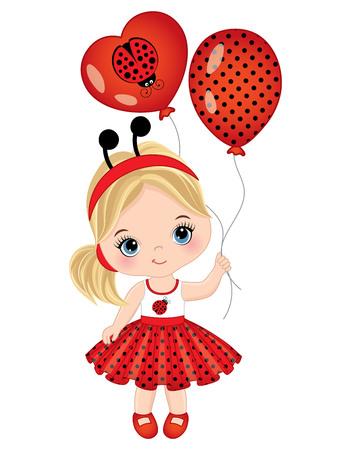 ladybug: Vector cute little girl with balloons. Little girl dressed in ladybug style. Little girl vector illustration Illustration