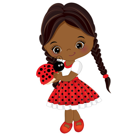 ladybug: Vector cute little girl with ladybug. Vector little girl in polka dot dress and red bow. Little girl and ladybug vector illustration Illustration