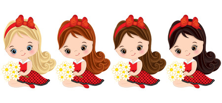 ladybug: Vector cute little girls with various hair colors. Little girls dressed in ladybug style. Little girls vector illustration Illustration