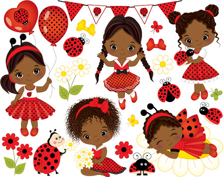 Vector set with cute little African American girls dressed in ladybug style, flowers, balloons, butterflies,  ladybugs and bunting. Little African American girls and ladybugs vector illustration