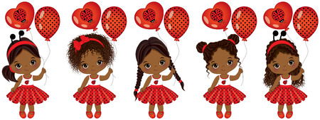 ladybug: Vector cute little African American girls with various hairstyles. Vector little girls dressed in ladybug style. Little African American girls vector illustration
