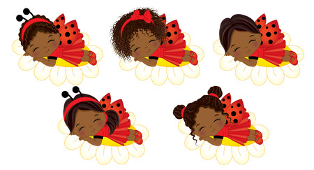 ladybug: Vector cute little African American girls with various hairstyles. Vector little girls dressed in ladybug style sleeping on flowers. Little African American girls vector illustration Illustration