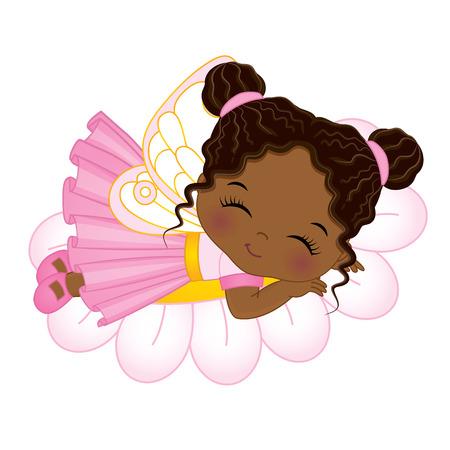 Cute little African American fairy sleeping on flower. Vector little African American girl. Fairy illustration