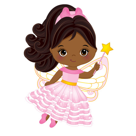 Cute little African American fairy with magic wand flying. little African American girl. Fairy illustration 矢量图像