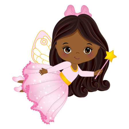 Cute little African American fairy with magic wand flying little African American girl. Fairy illustration