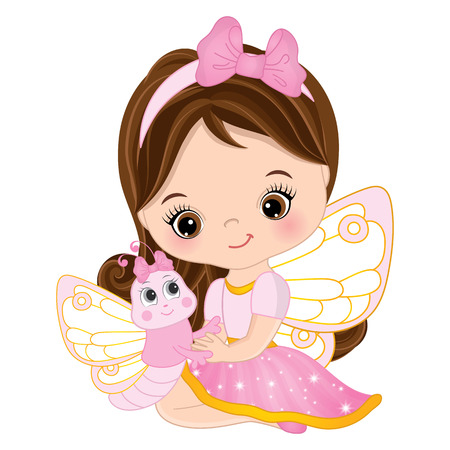 Vector cute little fairy with cartoon butterfly. Vector little girl. Fairy and butterfly vector illustration