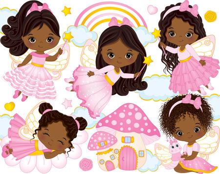 Vector conjunto con lindas pequeñas hadas afroamericanas, casa de setas, arco iris, nubes, estrellas y corazones. Vector niñas afroamericanas. Ilustración de vector de hadas afroamericanas Ilustración de vector