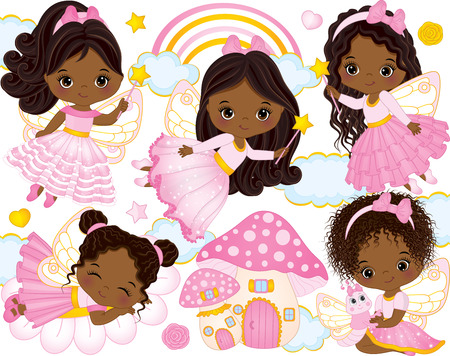 Vector set with cute little African American fairies, mushroom house, rainbow, clouds, stars and hearts. Vector little African American girls. African American fairies vector illustration