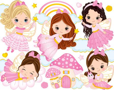 Vecteur série avec des petites fées mignons, maison aux champignons, arc-en-ciel, nuages, étoiles et coeurs. Vector petites filles. Fées vector illustration