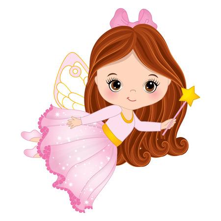Vector cute little fairy with magic wand flying. Vector little girl. Fairy vector illustration