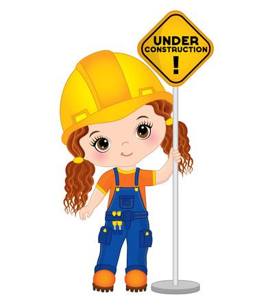 Vector cute little girl holding the sign - under construction. Vector construction. Little builder vector illustration