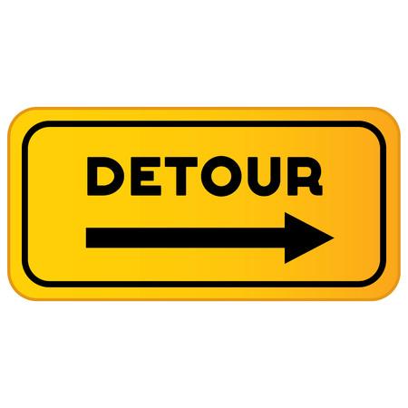 Vector detour road sign. Detour sign vector illustration Illustration