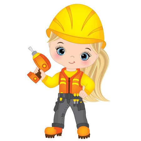 Vector cute little girl drilling. Vector construction. Little builder vector illustration Illustration