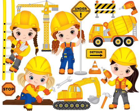 Vector construction set. Set includes cute little girls at work, tools, construction transport and road signs. Vector little builders. Construction vector illustration Çizim