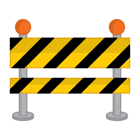 Vector yellow, black and striped road barrier. Vector road barricade. Road barrier vector illustration  イラスト・ベクター素材