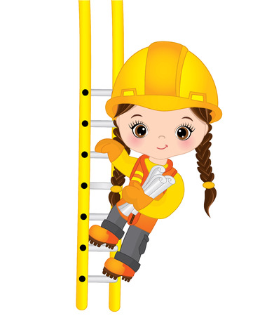 Vector cute little girl climbing up the ladder and holding drawings. Vector construction. Little builder vector illustration