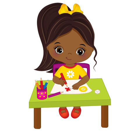 child sitting: Vector cute little African American artist drawing. Vector cute little African American girl. Little artist vector illustration Illustration