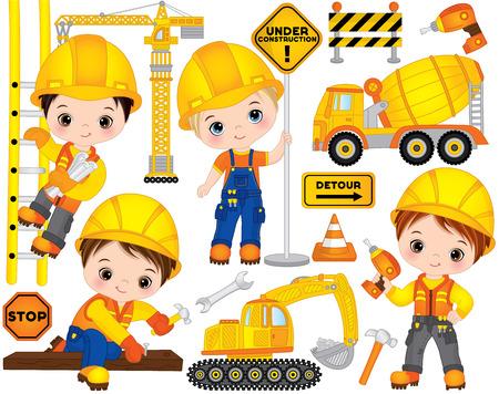 Jeu de construction de vecteur. L'ensemble comprend de jolis petits garçons au travail, des outils, des transports de construction et des panneaux de signalisation. Vecteur petits constructeurs. Illustration vectorielle de construction Vecteurs