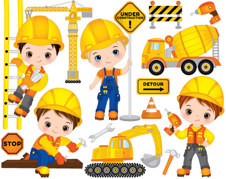 Vector construction set. Set includes cute little boys at work, tools, construction transport and road signs. Vector little builders. Construction vector illustration