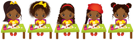 child sitting: Vector cute little African American girls with various hair colors. Vector little African American artists drawing. Little artists vector illustration