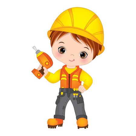 Vector cute little boy drilling. Vector construction. Little builder vector illustration