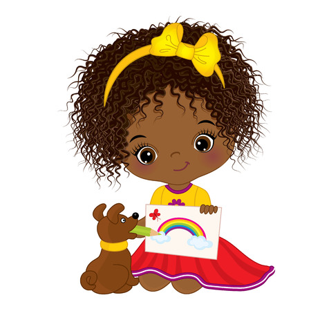 child sitting: Vector cute little African American artist holding a picture. Vector little African American girl drawing. Little artist vector illustration