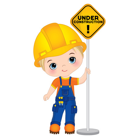 Vector cute little boy holding the sign - under construction. Vector construction. Little builder vector illustration