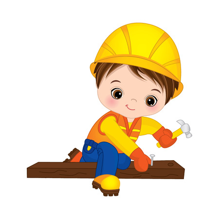 Vector cute little boy hammering nails. Vector construction. Little builder vector illustration Çizim
