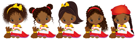 child sitting: Vector cute little African American girls with various hairstyles. Vector little African American artists drawing. Little artists vector illustration Illustration
