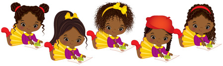 Vector cute little African American girls with various hair colors. Vector little African American artists painting. Little artists vector illustration