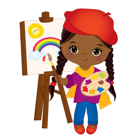 Vector cute little African American artist painting on easel, holding palette and paint brush. Vector cute little African American girl. Little artist vector illustration