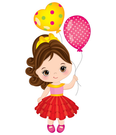 Vector cute little girl with balloons. Vector birthday. Little girl vector illustration