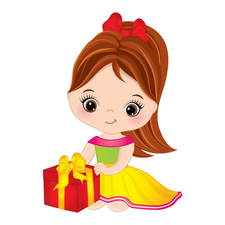 kids birthday party: A Vector cute little girl with gift box. Little girl vector illustration.