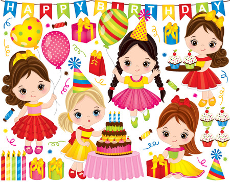 Vector birthday set. Set includes cute little girls with cake, balloons, cupcakes and gift boxes. Vector birthday party with pretty little girls. Kids birthday vector illustration